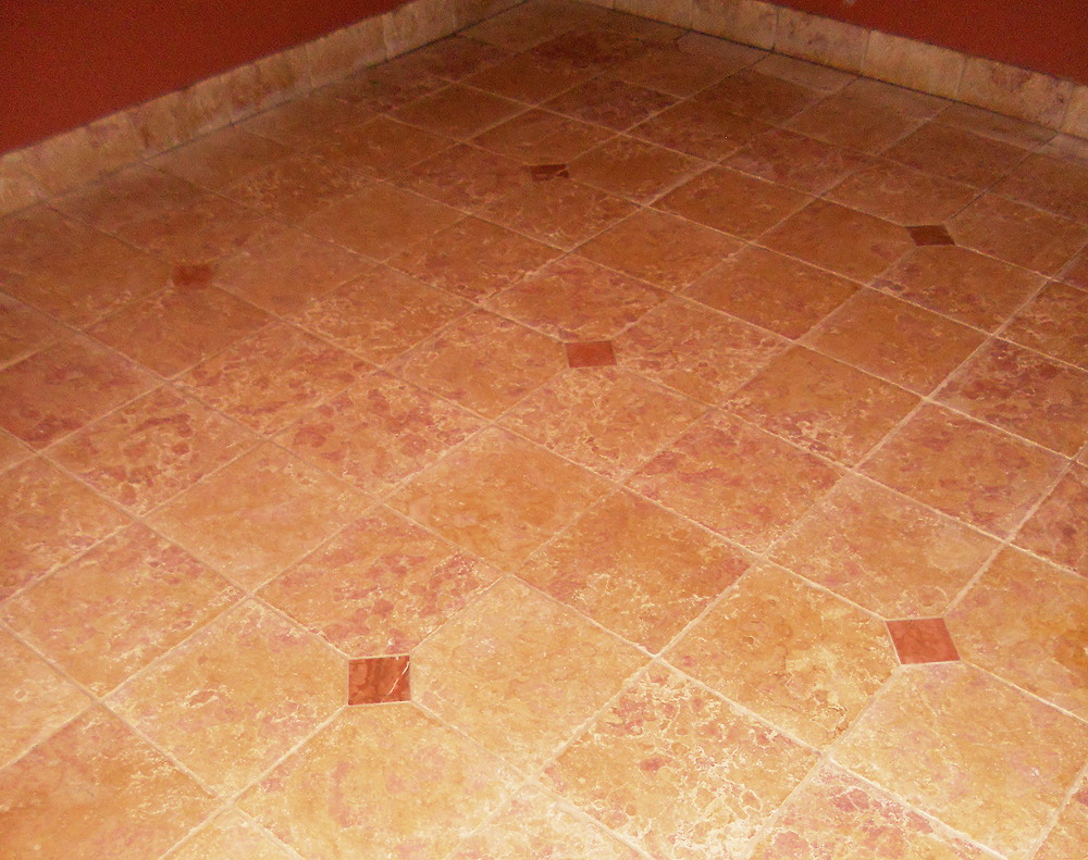 Marble floor after stone restoration