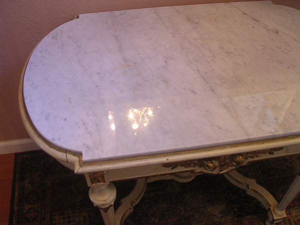 White Carrara tabletop after restoration. Atherton, California