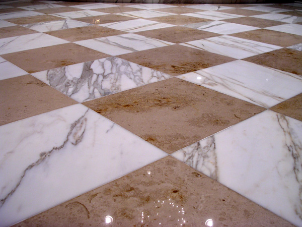 Marble floor after restoration. Los Gatos, California