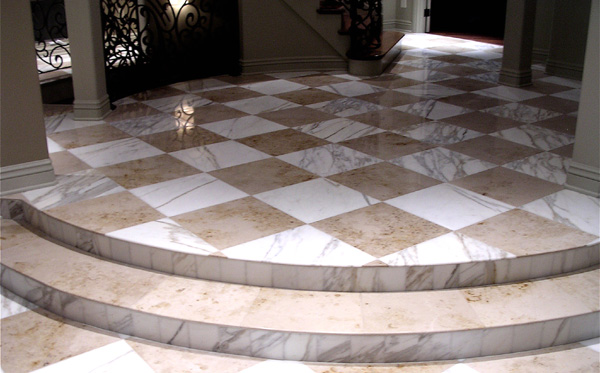 Limestone floor after polishing.