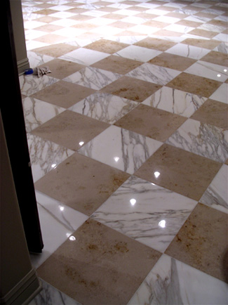 White marble and limestone after honing