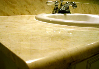 Marble countertop after honing and polishing. San Jose, California