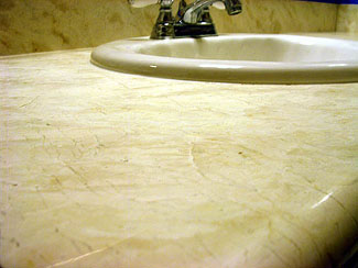 Marble countertop with honed look before restoration. San Jose, Califlornia