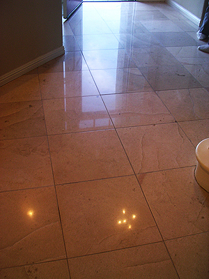 limestone floor after restoration