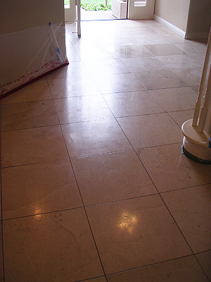 limestone floor before restoration