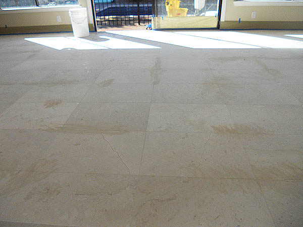 Crema marfil marble before restoration