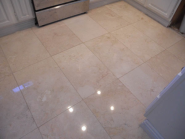 Crema Marfil Marble Resurfacing After Polishing
