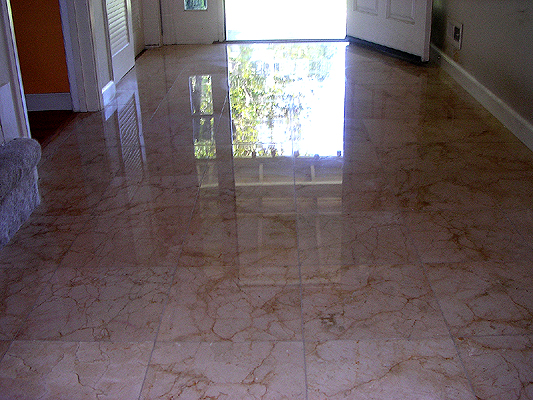 Marble floor polishing in San Jose, California before restoration