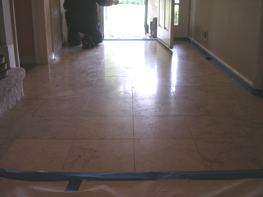 Marble floor in San Jose before restoration