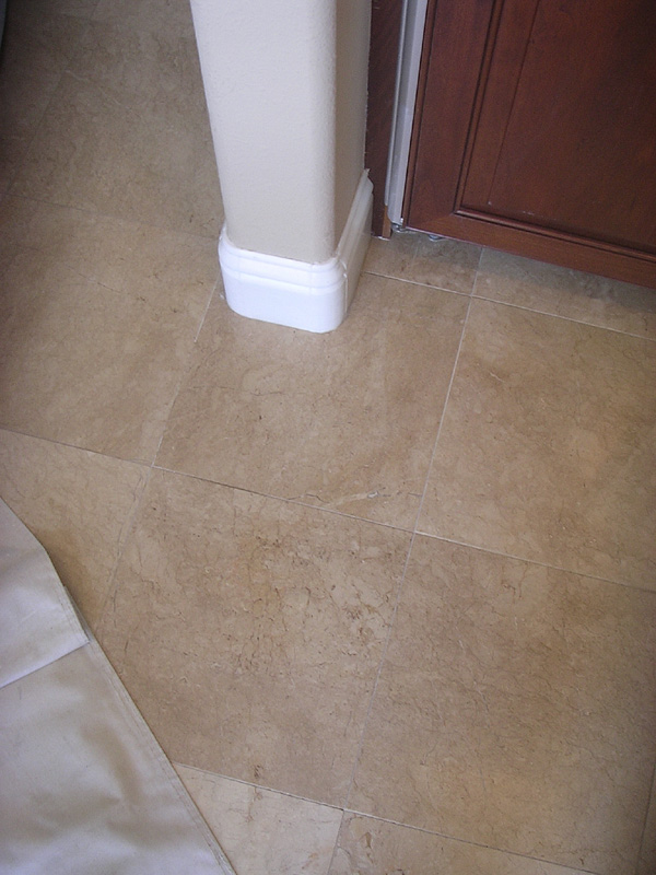 Blending result of repaired marble tile. Almaden Valley, California