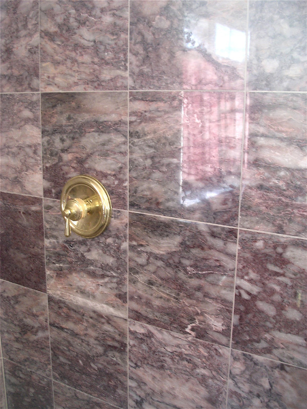 Shower marble wall with etching removed. Los Gatos