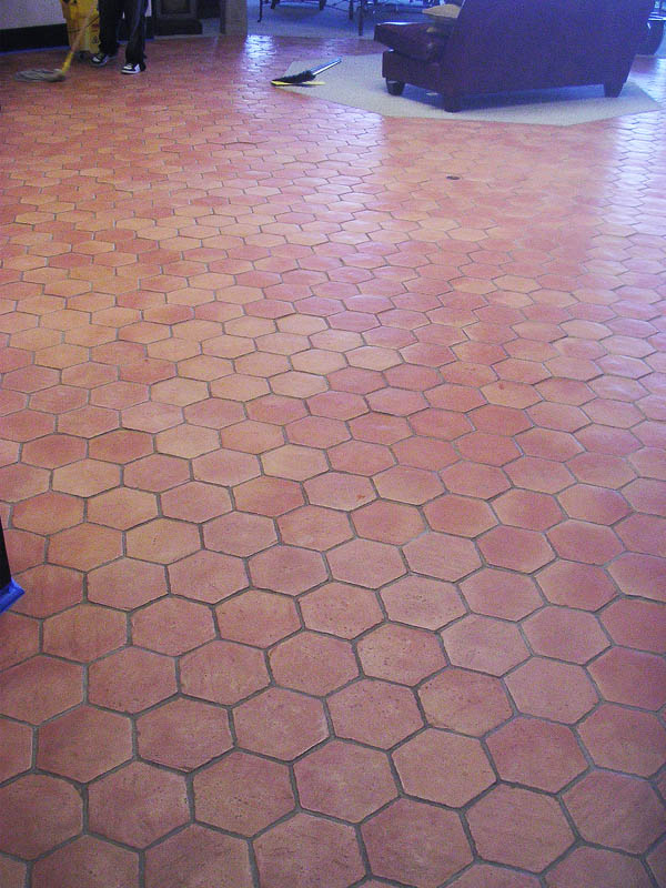 Saltillo tile cleaning before restoration